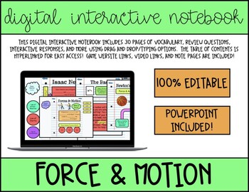 Force and Motion *Digital* Interactive Notebook and Slides