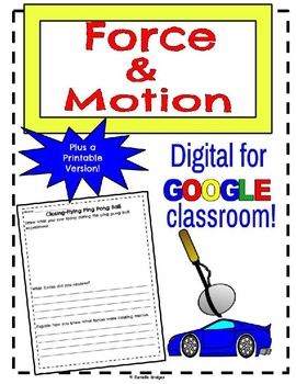 Force and Motion- Digital and Printable Version