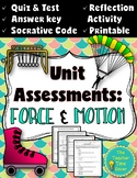 Force and Motion Editable Quiz and Test with Reflection Activity