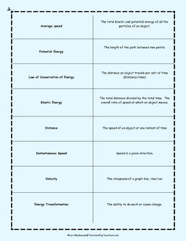Force and Motion: Energy, Motion and Speed Vocabulary Activity