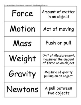 Force and Motion Flash Cards