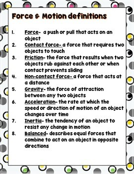 Pearson Science 5th grade Chapter 3 Force and Motion Gallery Walk