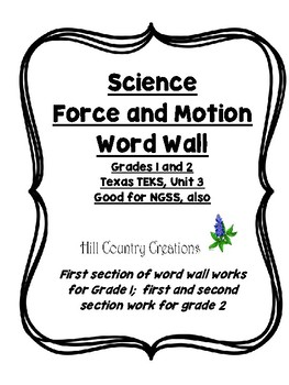 Force and Motion: Grade 1 and 2 Word Wall..Good for Texas TEKS and NGSS