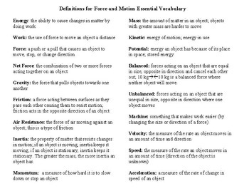 Forces and Motion Vocabulary