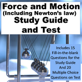 Force and Motion (Including Newton's Laws) Study Guide and Test