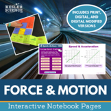Force and Motion Interactive Notebook Pages - Print and Digital Versions