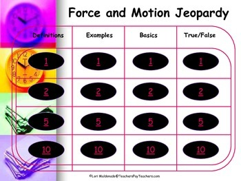 Force and Motion: Jeopardy Style Game