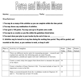 Force and Motion Menu