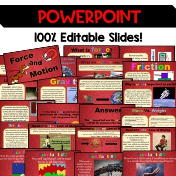 Force and Motion Pack – Editable PowerPoint, Printables/  Distance Learning
