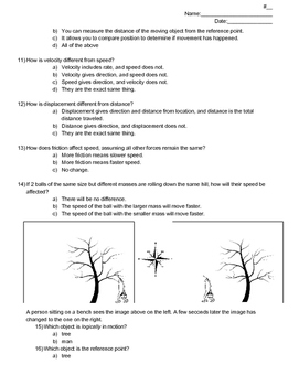 Force and Motion Physics Test