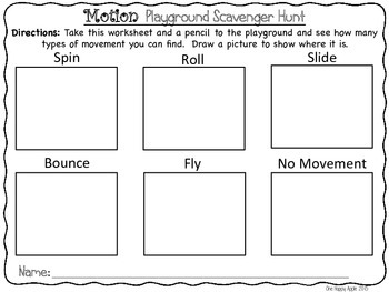 Force and Motion Playground Scavenger Hunt