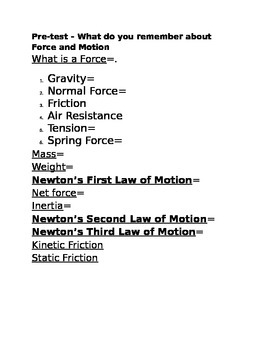 Force and Motion Pre-Test
