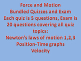 Force and Motion Quiz/Exam Bundle