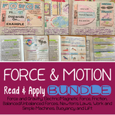 Forces and Motion Reading Comprehension Interactive Notebook BUNDLE