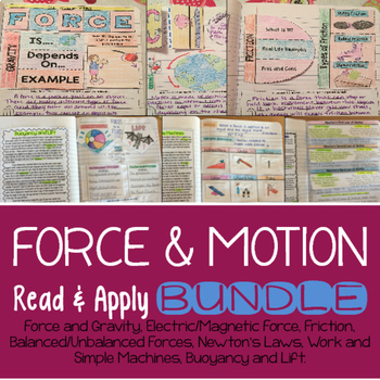 Force and Motion Reading Comprehension Interactive Noteboo