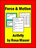 Force and Motion Science Cards