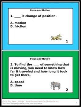 Force and Motion Science Task Cards and Worksheet Pack