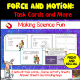 Force and Motion Science Task Cards and more Plus TPT Digital Overlay