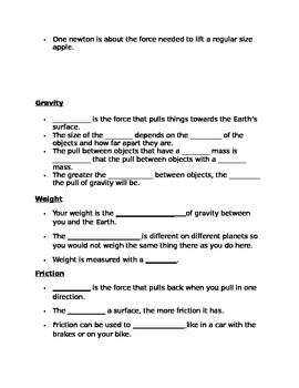 Force and Motion Study Guide