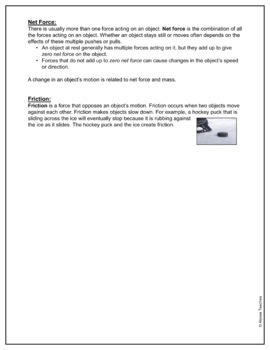 Force and Motion Study Guide and Review Worksheet (SOL 4.2) by ...