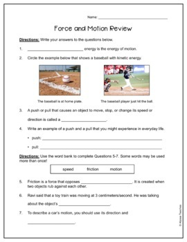 Force and Motion Study Guide and Review Worksheet SOL 4.2 ...