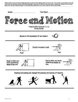 Force and Motion Study Guide for First Grade