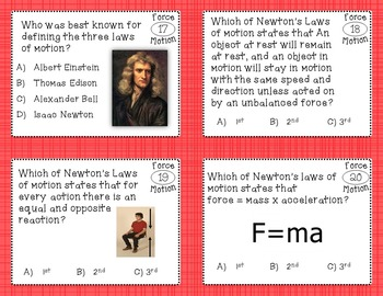 Force and Motion Task Cards (magnetism, newtons laws, Friction, energy, etc)