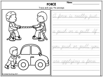Force and Motion Theme Based Handwriting Lessons (Cursive Edition)