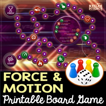 Force and Motion Themed Board Game - Pre-Written & Editable Cards