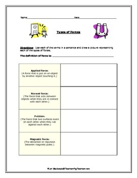 Force and Motion: Types of Forces Vocabulary Activity