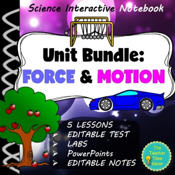 Force and Motion Unit Bundle (Lessons, projects, presentations, and test)
