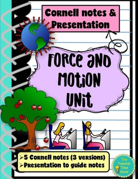 Force and Motion Unit Bundle: Cornell notes and Presentation