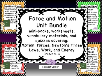 Force and Motion  Unit Bundle - Minibooks and Worksheets