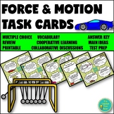 Force and Motion Unit Task Cards Review Activity Printable