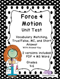 Force and Motion Unit Test - FREE