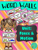 Force and Motion Vocabulary Word Wall- Physical Science