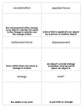 Force and Motion Vocabulary Bingo