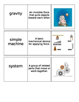Force and Motion Vocabulary Cards