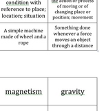 Force and Motion Vocabulary Flash Cards