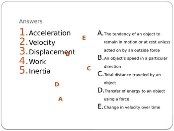 Force and Motion Vocabulary Formative Assessments/Openers
