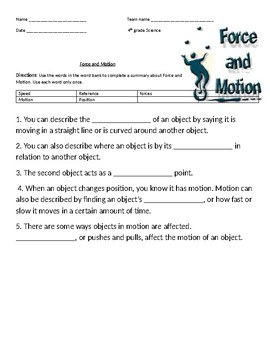 Force and Motion Vocabulary HW