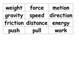 Force and Motion Vocabulary Match