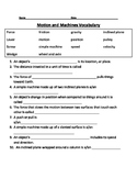 Force and Motion Vocabulary Quiz
