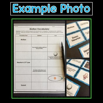 Force and Motion Vocabulary Sort Sets
