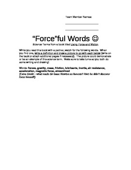 Force and Motion Vocabulary Words activity