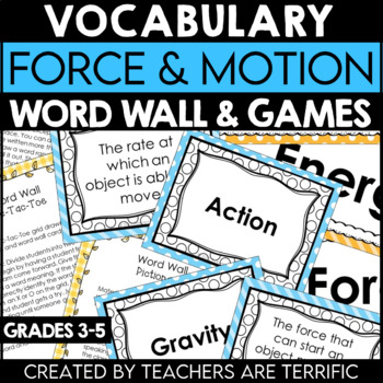 Force and Motion Vocabulary and Word Wall