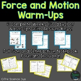 Force and Motion Warm-Ups (Bell Ringers)
