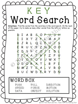 Force and Motion Word Search with BONUS Literature Resource List
