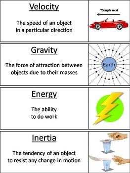 Force and Motion Word Wall Cards: Friction, Potential and Kinetic Energy etc.