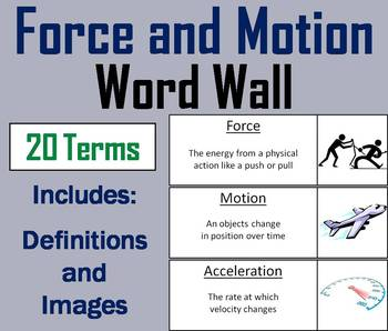 Force and Motion Vocabulary Word Wall: Friction, Potential/ Kinetic Energy, etc.